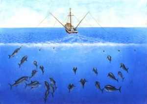 Artist's conception of tuna trolling operation. <BR>In trolling, lines bearing baited hooks or lures are towed through the water by a slow moving vessel. Caught fish are landed quickly. Sometimes fish are gaffed with a hook to land them. Live fish are sometimes used as bait. These practices increase the suffering caused.